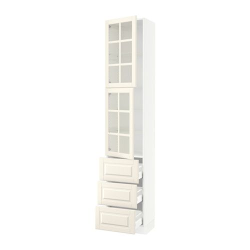 "SEKTION High cabinet w/2 doors & 3 drawers - white, Bodbyn off-white, 18x15x90 "", Ma - IKEA"