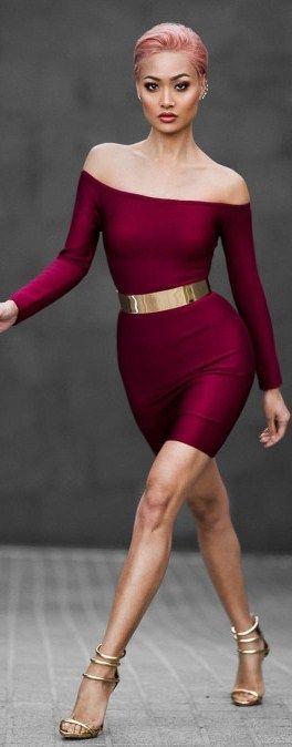 Fashion model Micah Giannelli struts in burgundy curve-hugging off-the-shoulder dress with gold metal belt.. DIY the look yourself: http://mjtrends.com/pins.php?name=metal-belt-for-dress