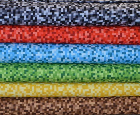 Michael Miller. Bitmap in Black, Red, Blue, Green, Yellow, and Brown - this is NOT a copyrighted, licensed Minecraft fabric Since this is not a licensed minecraft fabric and is just the pixels that are inherent in the minecraft game, you can easily sew with this fabric and sell with