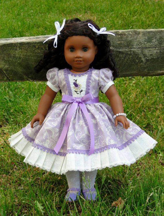 Cute 1950s Lavender Embroidery Doll Dress  by Bestdollboutique, $26.99