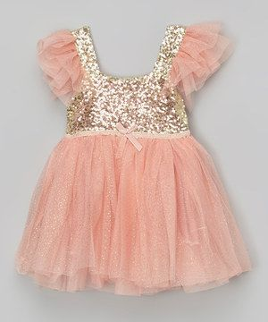 Love this Designs by Meghna Light Coral Glitter Dress - Infant, Toddler & Girls by Designs by Meghna on #zulily! #zulilyfinds