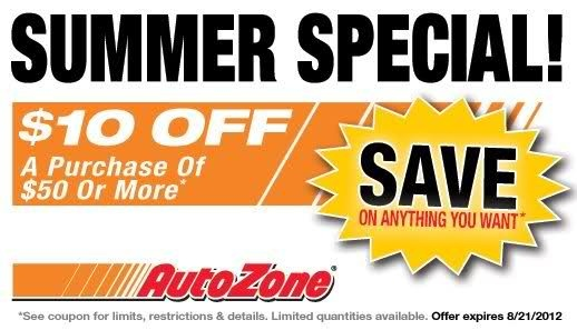Get $10 off $50 or more In-store Printable AutoZone Coupon