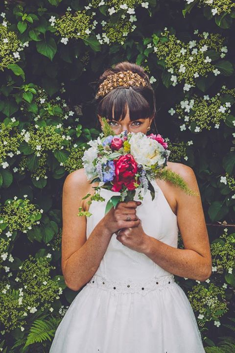 Gorgeous bride Liz chose the Hermione Harbutt Decadence Headdress