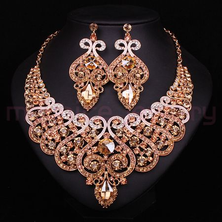 New Bridal Jewelry Sets Wedding Necklace Earring For Brides Party Accessories Gold Plated Crystal Indian Decoration