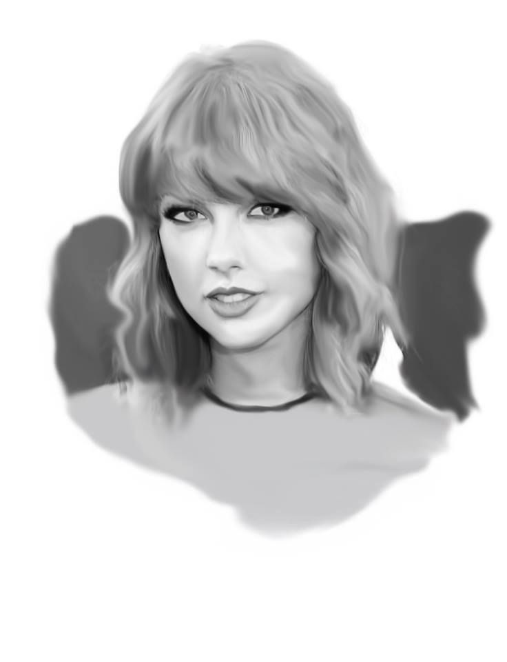 Digital Painting of Taylor Swift, started off with a trace of taylor, and made it black and white.. then selected the tones and used the paintbrush and smudge tool to create a real life like digital painting of one of my favourite artists.Made in illustrator.