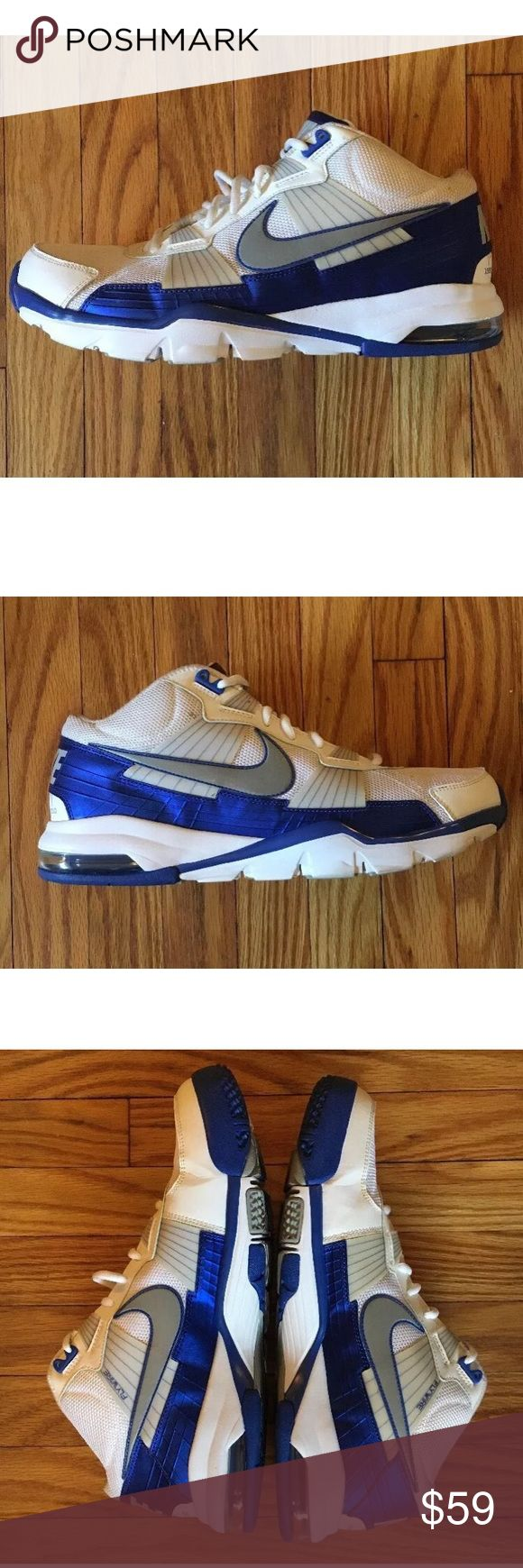 Mens 13 Nike Trainer SC Grey Royal 386484 102 Mens Size 13 Nike Trainer SC 2010 White Grey Royal 386484 102  Minimal, visible wear. Excellent condition, minor blemishes that can be removed or improved with a quick clean. Structurally sound. Insoles have been replaced and have some life left in them. Please see photos for details or message with questions and for additional information, thanks! Nike Shoes Sneakers