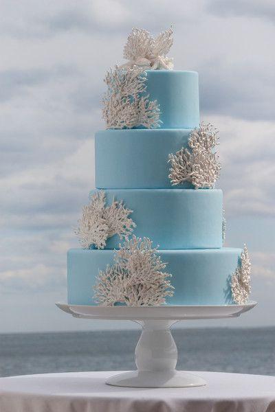 Pièce montée 2017  Blue  Coral #WeddingCake I Design photographique Prestige / Barkley I #nautical
