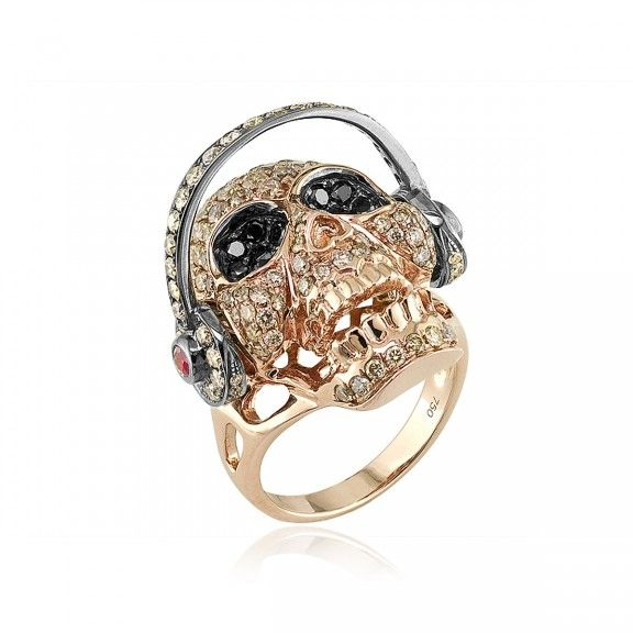 18kt Rose Gold 3-D Skull with Moveable Headphones Ring. $7,140.