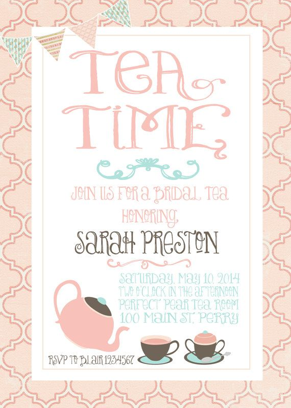 Bridal Tea Invitation Wedding Shower By Gingercakegraphics