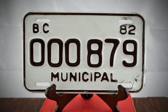 Retro License Plate from British Columbia 1982  by LoAndCoVintage