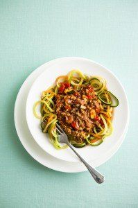 <center>We\'ve swapped pasta for thin vegetable strands to make this mouth-watering skinny bolognese.