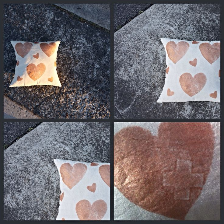 """NEW! """"Copper Heart Plus' cushion; featuring signature plus-sign, ➕one industrial collection; individually hand painted: eco friendly water based metallic paint : 100% linen: limited edition Hand-painted and handmade by Claire Webber,mHobart, Tasmania webberclaire1@gmail.com"""