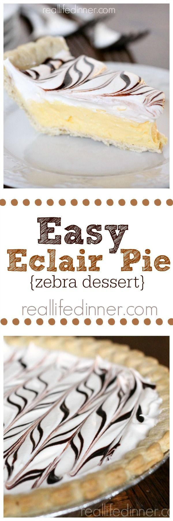 Easy Eclair Pie Recipe, Delicious pie recipe with simple ingredients, easy to follow instructions, and the results are incredible. A must make! ~ http://reallifedinner.com