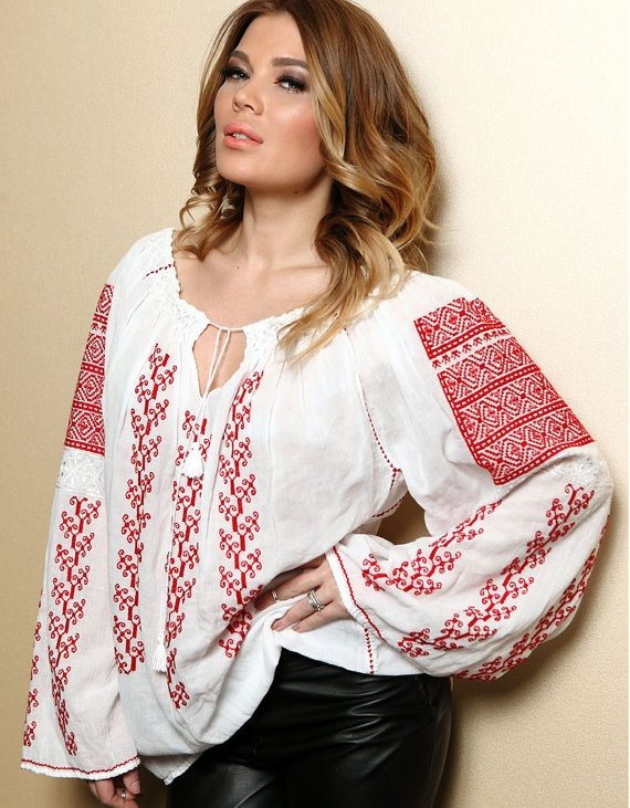 Romanian traditional blouse with long sleeves by RomanianLabel, $121.00