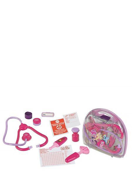 My Little Pony -lääkärinlaukku Poneilla kuvitetun lääkärinlaukun tarvikkeilla hoidat kuntoon nuket ja pehmolelut. Mukana mm. stetoskooppi, kuumemittari ja leikkilaastari.