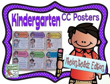 These Kindertarten Common Core Posters are large, and colorful!   With the Melonheadz kids they're also adorable!  They are the perfect way to display the daily standards to your students. Each poster (8.5 X 11 in., landscape view) contains one standard with KG Part of Me font.