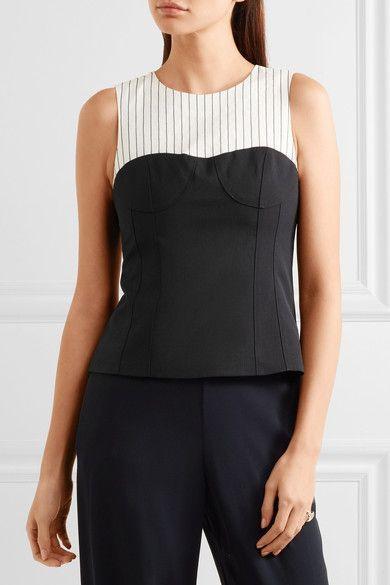 Tibi - Cecil Striped Linen-blend And Stretch-crepe Top - Black - US10