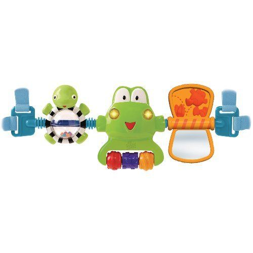 Bright Starts Hop Along Carrier Toy Bar - Neutral by KIDS II. $34.00. Spinning paddle mirror. Friendly frog toy features. Machine washable seat pad. Spinning rattle ball. Straps easily to strollers carriers and more. From the Manufacturer                Bright Starts Hop Along Carrier Toy Bar comes with entertaining toy bar provides multiple activities for babies on the run. This friendly frog toy features baby activated lights, three melodies, colorful textur...