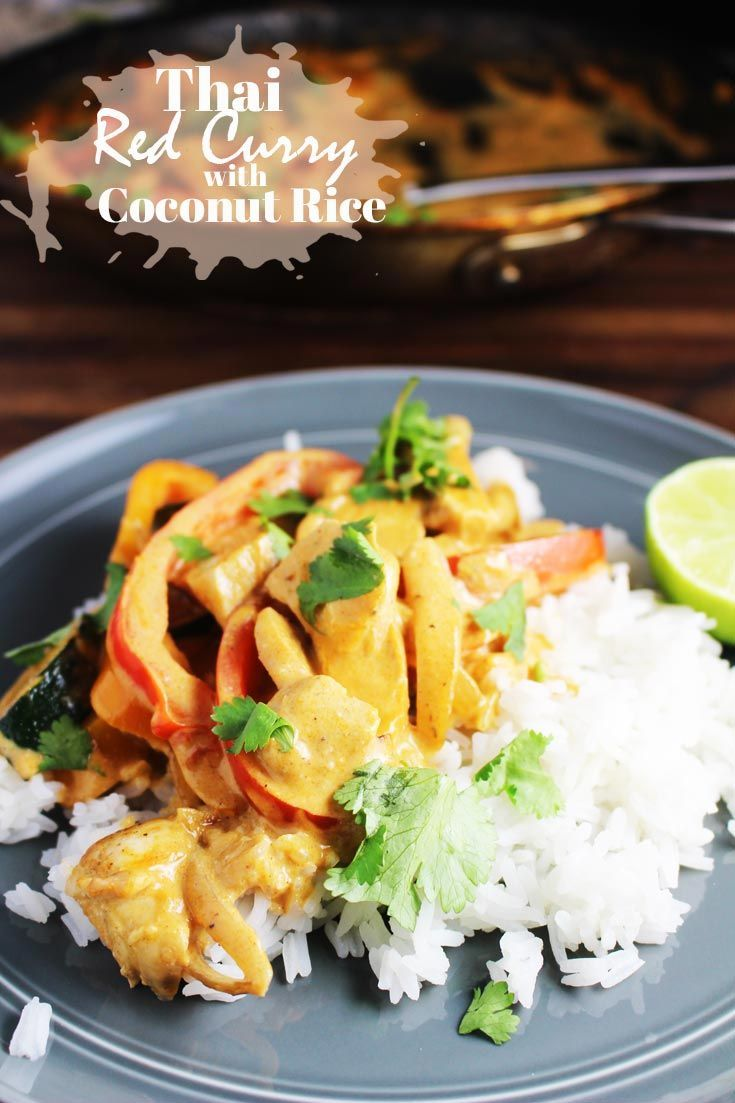 Thai red curry is easy to make, and even easier to love! Chicken and veggies are quickly sauteed and then cooked in a creamy coconut milk and red curry sauce. Served over rice, it's filling, comforting and delicious. #Thaifood, #chicken, #chickenrecipes via @ourhappymess