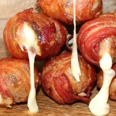 Ridiculous Bacon Wrapped, Cheese Stuffed Meatballs