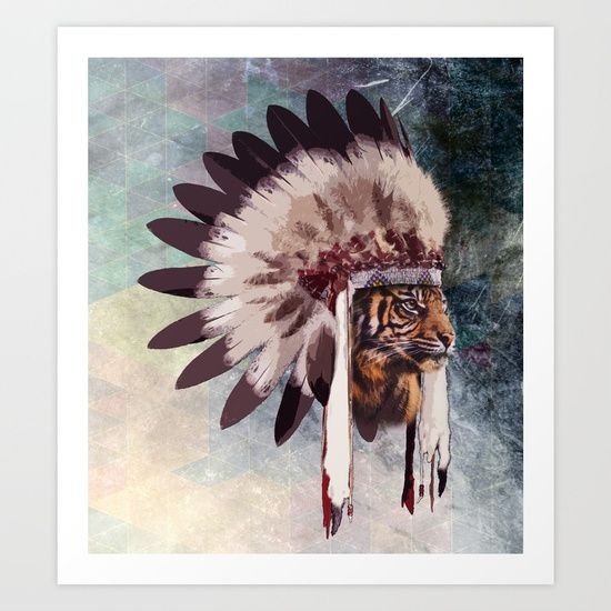 Lion, war bonnet, indian, vintage