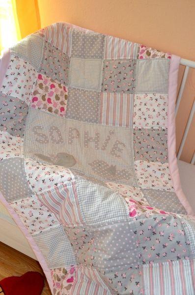 Patchwork Decke für stillvolles Mädchen  von Rosenrabe auf DaWanda.com