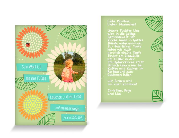 Einladungskarte Taufe Sonnenblumen
