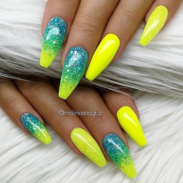 Neon Yellow And Blue Ombre Coffin Nails Neon Nails Coffin Nails Designs Yellow Nails