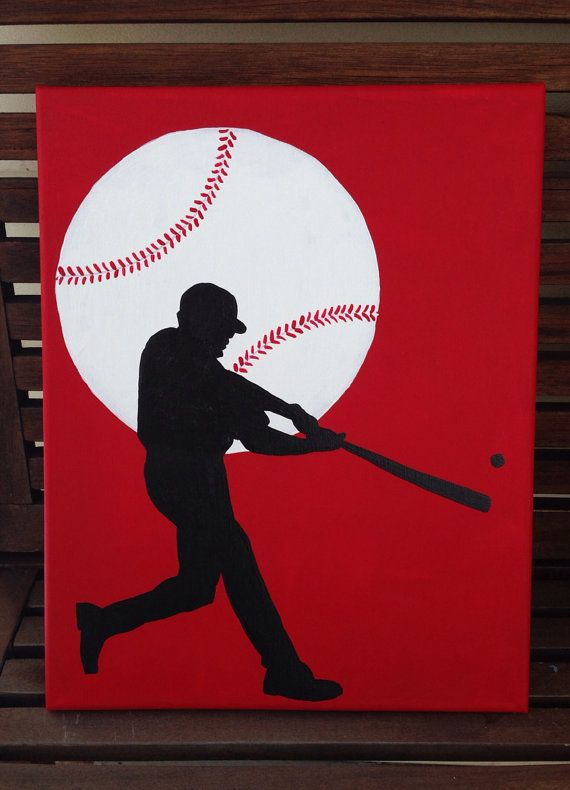 Hand painted baseball player and ball on canvas