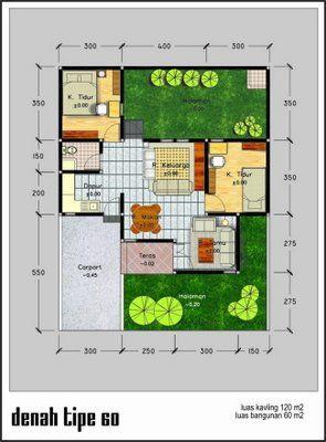 Denah Rumah Minimalis Modern Type 45 - Rumah Minimalis