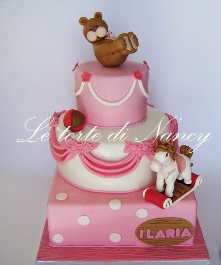 #Cute #Bear and Rocking #Horse three tier #Cake Pink & White - Looking so sweet, we totally love! Great #CakeDecorating We love and had to share!