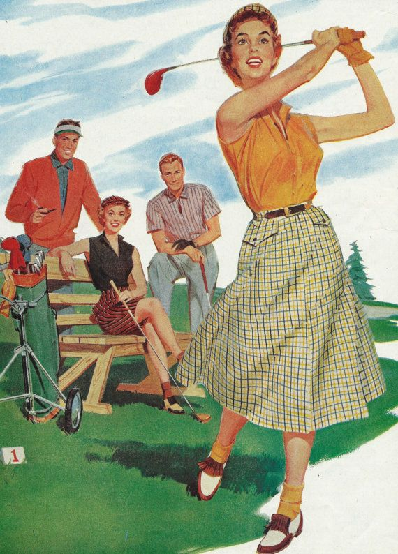 1957 Golf Illustration  Vintage Ladies Men by zippitydoodlepaper