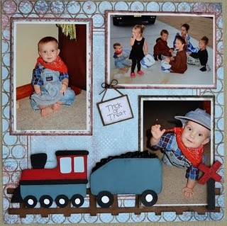 Scrapbook page idea for trains