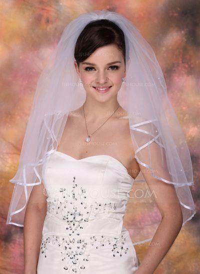 2 couches Voile de mariée longueur coude avec Bord en ruban (006005419)
