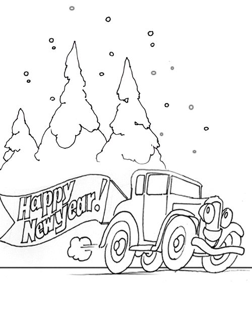 Happy New Year Coloring Pages Kids printable for your kids