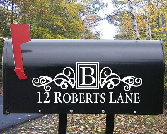 Personalized Mailbox Decal with Scrollwork Design - personalized with your address - - Etsy Mailbox Decal - Pinterest Mailbox Decal  Cost: $10.00  Size: Approximately 11 x 5 (depending on length of address)   YOU WILL RECEIVE:   Two outdoor quality vinyl decals (one for each side of the mailbox)   Application Tool   Easy-to-follow instructions