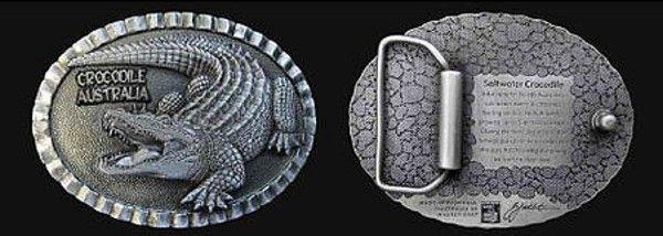 Crocodile Australia Belt Buckle - Custom made, pewter belt buckle featuring a 3 dimensional Crocodile with inscription about the Saltwater Crocodile on rear.