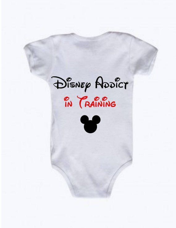 b113d9de7 Disney Addict in Training Baby Onesie, Future Disney Addict Onesie, I Love  Disney, Mickey Mouse, Gif