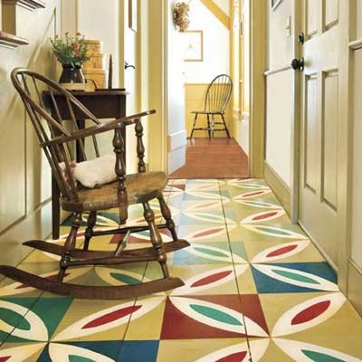 A colorful patchwork-painted floor dresses up this once ho-hum foyer. | Photo: Darren Setlow/Built Images/Alamy | thisoldhouse.com