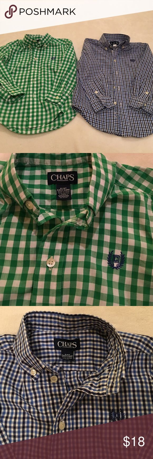 Chaps dress shirts Boys Size 4T. Green and white check. Navy, blue, and white check. Look brand new Chaps Shirts & Tops Button Down Shirts