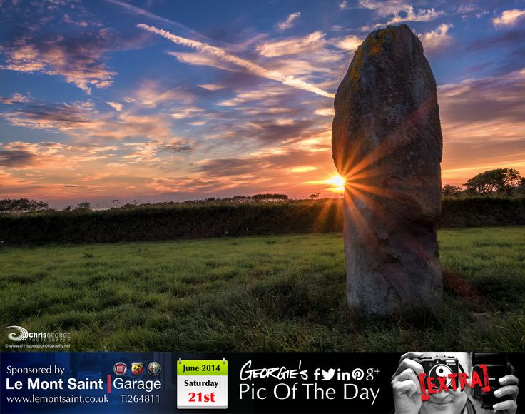 What better way to see the sun go down, than by that Magical Menhir in St Peters on the Summer #Solstace #MyGuernsey   http://chrisgeorgephotography.dphoto.com/#/album/cbc2cr/photo/24264011  Picture Ref: 21_06_14b — in Guernsey.