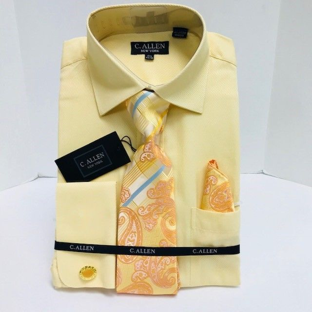 C. Allen Dress Shirts Banana with Tie Hanky French Cuffs Men's Sizes 15.5 - 22.5 #CAllen #Dress