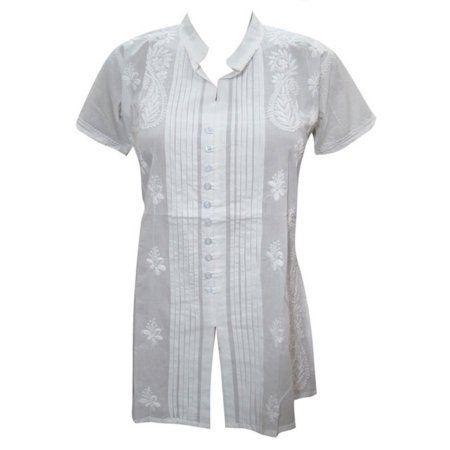 Mogul Women's Kurta Mandarin Collar White Floral Embroidered Tunic Top Shirt S  https://www.walmart.com/search/?grid=true&query=mogul+interior+caftan#searchProductResult