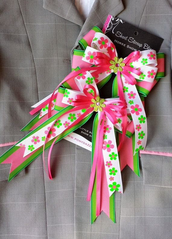 Pair of Large Horse Show Bows w/ Tails  Hot by ShortStirrupBling, $23.00