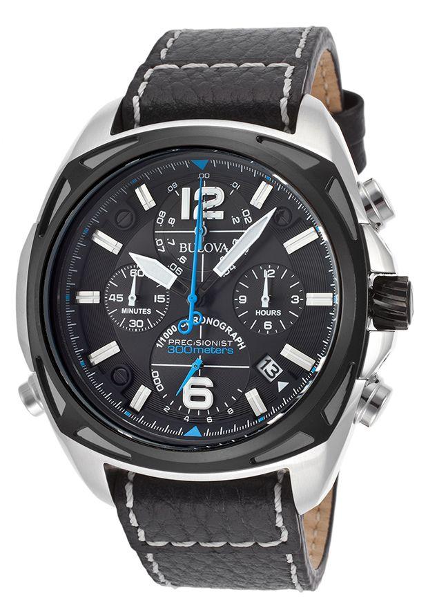 Bulova 98B226 Watches,Men's Precisionist Chronograph Black Genuine Leather and Dial, Fashion Bulova Quartz Watches