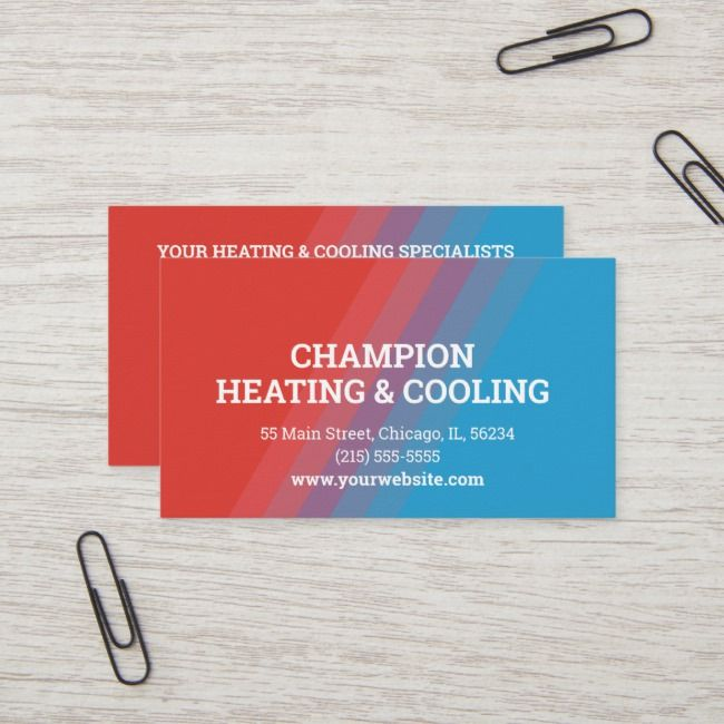 Unique Hvac Red And Blue Business Card Zazzle Com Commercial