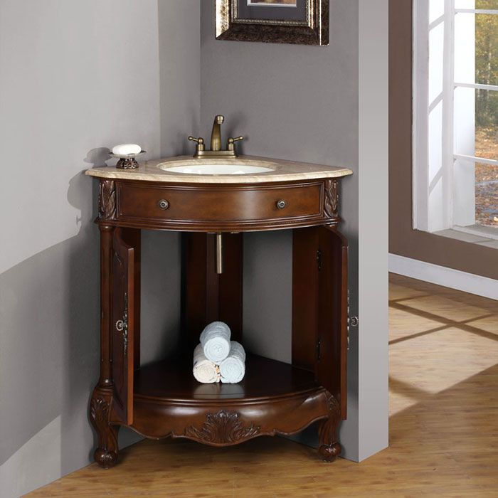 Tips For Buying The Most Suitable Corner Shelf Unit Smartly : Hannah  Travertine Stone Top White Corner Sink Bathroom Vanity