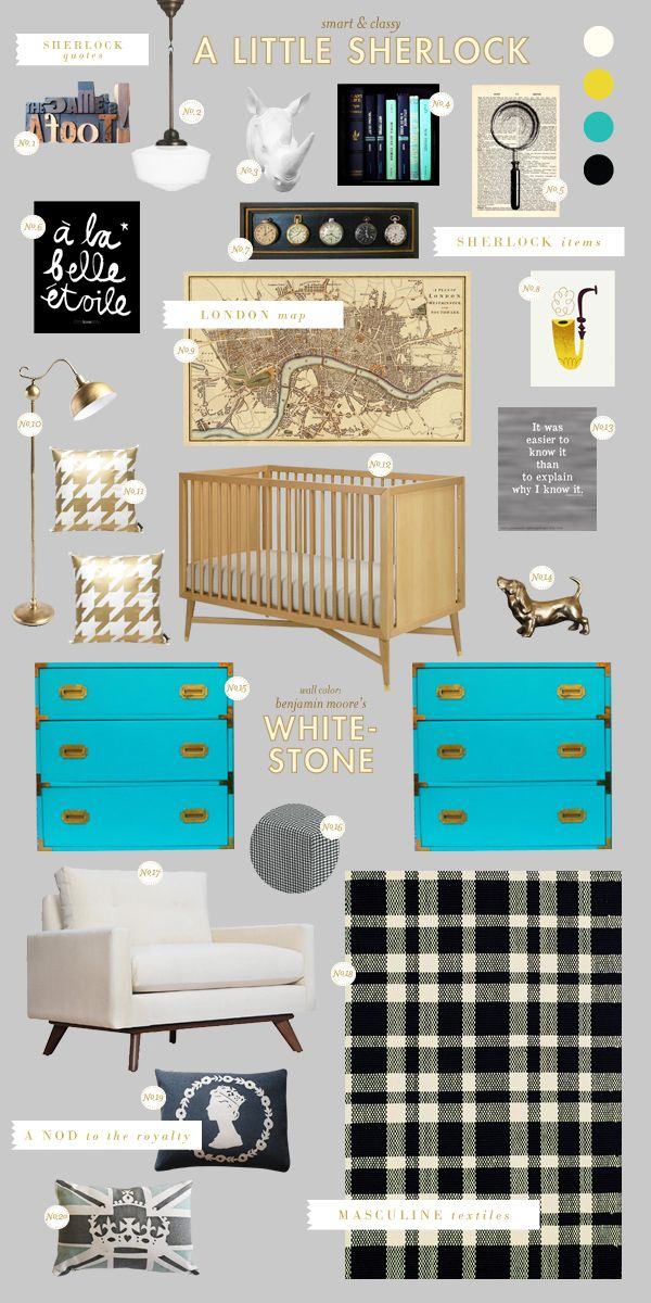 Fun decor ideas for an office or library. A clean and polished take on a Sherlock Holmes inspired nursery (since the movie just came out for rental!) with campaign chests that remind me of traveling via train. Sources from upper left: (1) The game's afoot!; (2) Waldorf Pendant; (3) Eclectic Rhino Bust; (4) Turquoise Books; (5) Magnifying Glass; (6) A La Belle Etoile; [...]