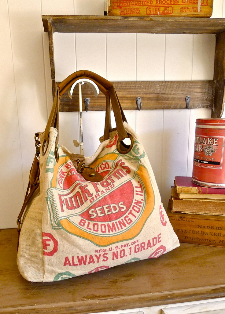 Funk Farms, Bloomington, Illinois- Vintage Seed Sack Open Tote -Americana OOAK Canvas & Leather Tote. $165.00, via Etsy.