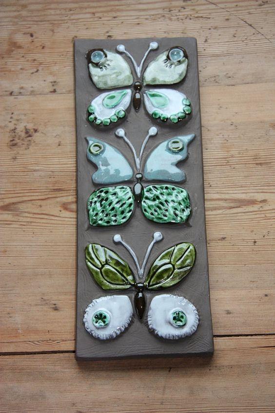 Wonderful butterflies wall plaque in ceramic from Jie Sweden: